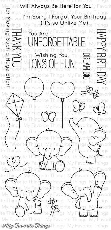 BB-28 ~ ADORABLE ELEPHANTS ~ CLEAR CLING BACKED STAMPS~ MY FAVORITE THINGS